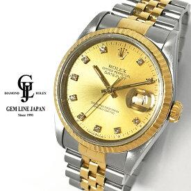 【中古】ロレックス デイトジャスト 16233G X番 純正10Pダイヤ YG/SS メンズ 自動巻 腕時計