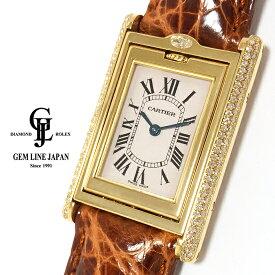【中古】カルティエ タンク バスキュラント WA203351 YG 純正ダイヤモンド メンズ クォーツ 腕時計