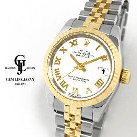 【中古】ロレックス デイトジャスト 179173 ホワイト ローマ ランダム番 ルーレット刻印 YG/SS コンビモデル レディース 自動巻き 腕時計