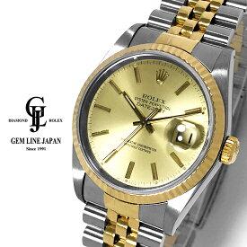 【中古】ロレックス デイトジャスト 16233 L番 YG/SS シャンパンバー メンズ 自動巻 腕時計