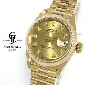【中古】ロレックス デイトジャスト 69178G N番 金無垢 純正10Pダイヤ レディース 自動巻き 腕時計
