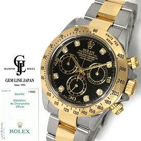 【中古】ギャラ付 ロレックス デイトナ 116523G F番 黒文字盤 純正8Pダイヤ YG/SS メンズ 自動巻 腕時計