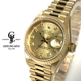 【中古】ロレックス デイトジャスト 69178G R番 金無垢 純正10Pダイヤ レディース 自動巻 腕時計