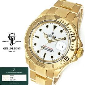 【中古】メーカーOH済 美品 ロレックス ヨットマスター 16628 A番 YG無垢 白文字盤 メンズ 自動巻 腕時計