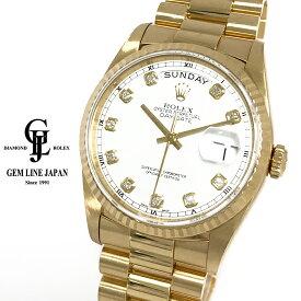 【中古】ロレックス デイデイト 18238G YG ホワイトローマン L番 10P純正ダイヤ メンズ 自動巻き 腕時計