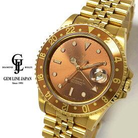 【中古】ロレックス 金無垢 GMTマスターII 16718 X番 オールトリチウム ブラウン文字盤 メンズ 自動巻 腕時計