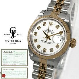 【中古】ギャラ付 ロレックス デイトジャスト 69173G S番 10P純正ダイヤ YG/SS レディース 自動巻き 腕時計
