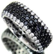 【新品】処分価格【A269】ブラックダイヤ3.38ctWGフルエタニティリング