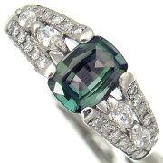 【中古】澄んだ大粒クリソベリルアレキサンドライト1.29ctダイヤモンド0.69ctPt900リング