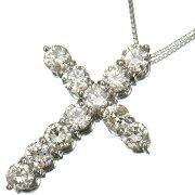 3.00ctダイヤモンド存在感抜群クロスペンダントPt900/Pt850プチネックレス【新品】