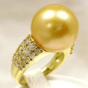 【新品】ナチュラルゴールデンパール15.1mmダイヤ1.20ctK18YGリング真珠科学研究所鑑別鑑定書付き