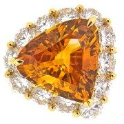 【中古】大粒ゴールデンサファイア8.889ctダイヤモンド2.94ctK18YGリング