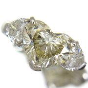 大粒4.100ctMカラーSI2クラスハートシェイプカットダイヤモンド他ダイヤ1.11ctプラチナリング【中古】