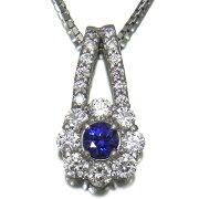 幻の稀少石ベニトアイト0.17ct良質ダイヤモンド0.40ctPt900/Pt850プチネックレス【新品】