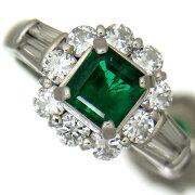 上質エメラルド0.76ct上質ダイヤモンド1.04ctプラチナリング【中古】