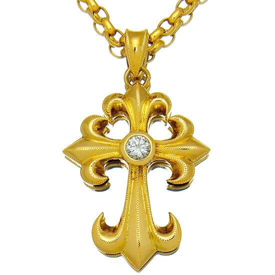 【メンズジュエリー】ダイヤモンド ネックレス クロス ペンダント 一粒ダイヤモンド0.326ct 18金イエローゴールド プチネックレス【中古】