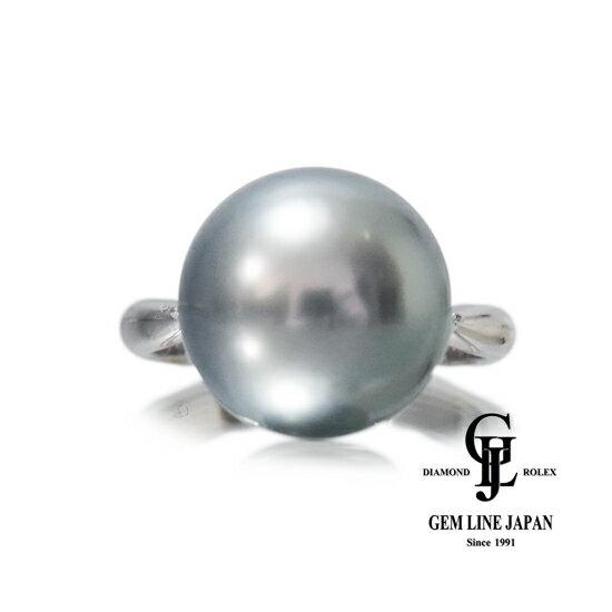 【新品】黒真珠 12mm リング プラチナ ダイヤ0.20ct