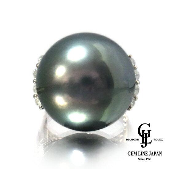 【新品】黒真珠 指輪 大粒17.8mm 黒蝶パール プラチナリング ダイヤ0.38ct レディース