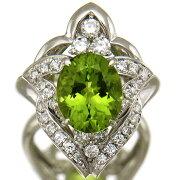 【中古】大粒ペリドット3.84ct指輪レディースプラチナ上質ダイヤモンド0.64ctファッションリング