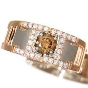 豪華コンビ上質ブラウンダイヤモンド0.603ct上質メレダイヤ0.30ctラウンドカットK18PG/Pt900メンズリング18号【中古】
