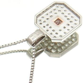 【中古】GIAカラーグレードピンクダイヤモンドネックレスレディースプラチナ製ファンシーパープルピンクダイヤ0.32ct絶品メレダイヤ0.57ctプチネックレス
