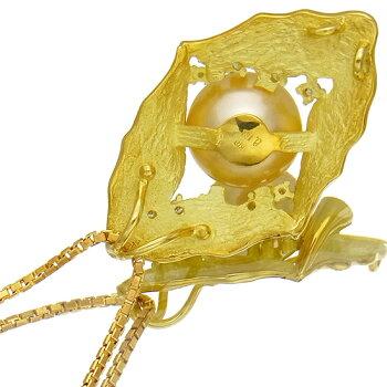 南洋真珠11.7mmネックレスK18YGペンダントダイヤ0.13ctレディース【中古】