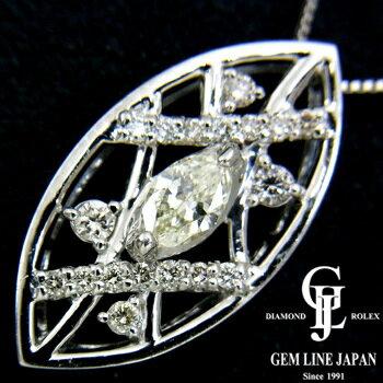 【新品】ダイヤモンドプチネックレスレディースK-VS2マーキスダイヤ0.207ctプラチナ【グレード評価付き】