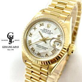 金無垢 ロレックス デイトジャスト 69178NR S番 シェルローマ レディース 自動巻き 腕時計