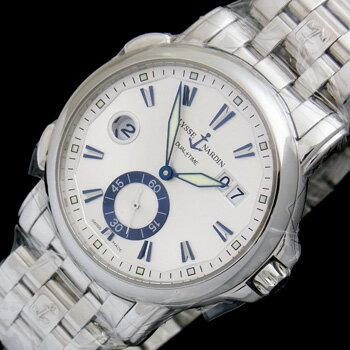 未使用品 ユリスナルダン デュアルタイム42mm 243-55-7/91 ステンレススチール製 GMT機能 自動巻メンズ腕時計【中古】