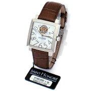 サントノーレオルセーカレミディアムSN8810171YBBステンレススチール製×ブラウンレザーシェル×スケルトン文字盤自動巻ユニセックス腕時計【新品】