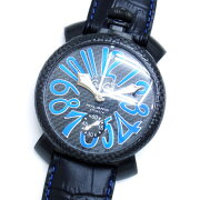 【未使用品】【GaGaMILANO】ガガミラノ時計メンズ世界限定モデルマニュアーレ48mm5016.7ステンレススチール製×カーボンファイバー×ブラックレザーブルーインデックスシースルーバック手巻き