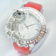ガルティスコピオダルミ・アン・アブラッチオ熊5ホワイトダイヤルスワロフスキーステンレススチール製×赤レザー42mmスイス製クォーツ式レディース腕時計【新品】