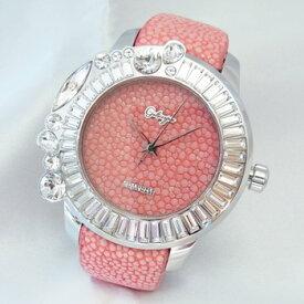 【Galtiscopio】ガルティスコピオ ジョリ・シンプル JS1 ピンク文字盤×ホワイトスワロフスキー ステンレススチール製×エイ革 49mm スイス製クォーツ式ユニセックス腕時計