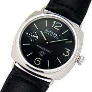 【中古】オフィチーネパネライラジオミールブラックシールロゴ45mmPAM00380R番ポリッシュステンレススチール製×レザー黒文字盤OPロゴ手巻きメンズ腕時計