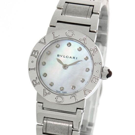 【中古】ブルガリブルガリ 時計 レディース ダイヤモンド ホワイトシェル文字盤 クォーツ ステンレス BBL26WSS/12 女性用腕時計