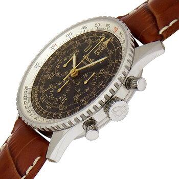 【中古】ブライトリングナビタイマーメカニック限定400本A120BNMFBAA1102212/B429ブラック42mmステンレス×社外革シースルーバッククロノグラフ手巻きメンズ時計