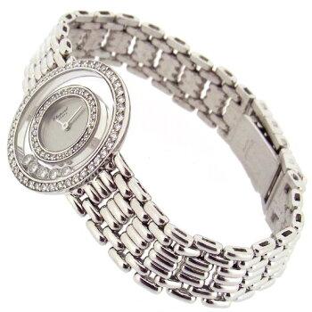【中古】ショパール時計レディースハッピーダイヤモンド20/6392ムービングダイヤK18WG無垢ホワイトゴールド製クォーツ腕時計