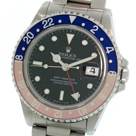 ロレックス GMTマスター 16700 T番 青赤ベゼル 黒文字盤 ステンレススチール製 自動巻きメンズ腕時計 オーバーホール歴あり【中古】