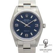 【中古】ロレックスメンズエアキング14000U番青文字盤369アラビア数字・バーインデックス34mmステンレススチール製自動巻き腕時計