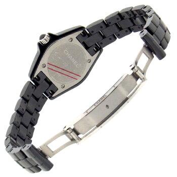 【中古】シャネル時計レディースJ12ブラックセラミックH2571ダイヤベゼル29mmダイヤモンド黒文字盤クォーツ式女性用腕時計