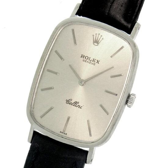ロレックス チェリーニ 4113 K18WG無垢×社外レザー シルバー文字盤 薄型長方形 手巻きメンズ 腕時計【中古】