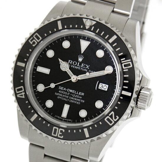 【中古】ロレックス シードゥエラー4000 ランダム 116600 黒文字盤 SS ルーレット刻印 自動巻き ダイバーズ メンズ 腕時計
