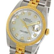 【ROLEX】ロレックスデイトジャスト116233NGホワイトシェル10PダイヤSS/YGルーレットv番自動巻きメンズ腕時計【中古】