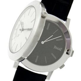 未使用品 ピアジェ アルティプラノ ダブルジュー G0A31152 ホワイトゴールド製×ブラックアリゲーターレザー シルバー文字盤 極薄ムーブメント 2タイムゾーン 手巻き メンズ腕時計【中古】
