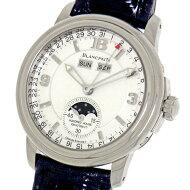 ブランパンレマンハーフハンタートリプルカレンダームーンフェイズK18WG無垢×別作レザー自動巻メンズ腕時計