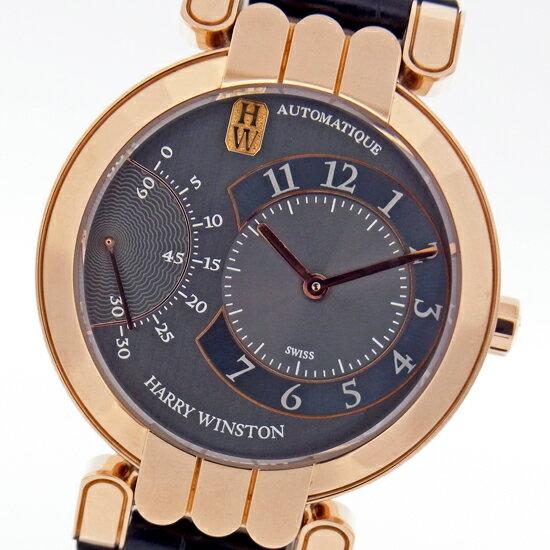 ハリーウィンストン 200-MASR37R プルミエール エキセンター K18PG無垢×レザー 裏スケ 自動巻メンズ腕時計【中古】【仕上げ済み】