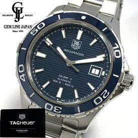 【中古】ギャラ付 タグホイヤー アクアレーサー キャリバー5 500m WAK2111 ブルー 自動巻き メンズ 腕時計