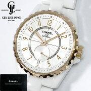 【中古】シャネルJ12-365H3839白セラミックK18PGベゼル36.5mm自動巻きメンズ腕時計