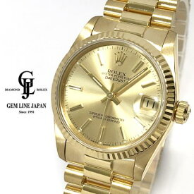 【中古】ロレックス デイトジャスト 68278 R番 金無垢 シャンパンバー ボーイズ 腕時計