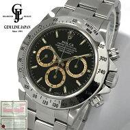 【中古】ギャラ付超稀少ブラウンアイロレックスコスモグラフデイトナ16520T番メンズ自動巻黒文字盤腕時計